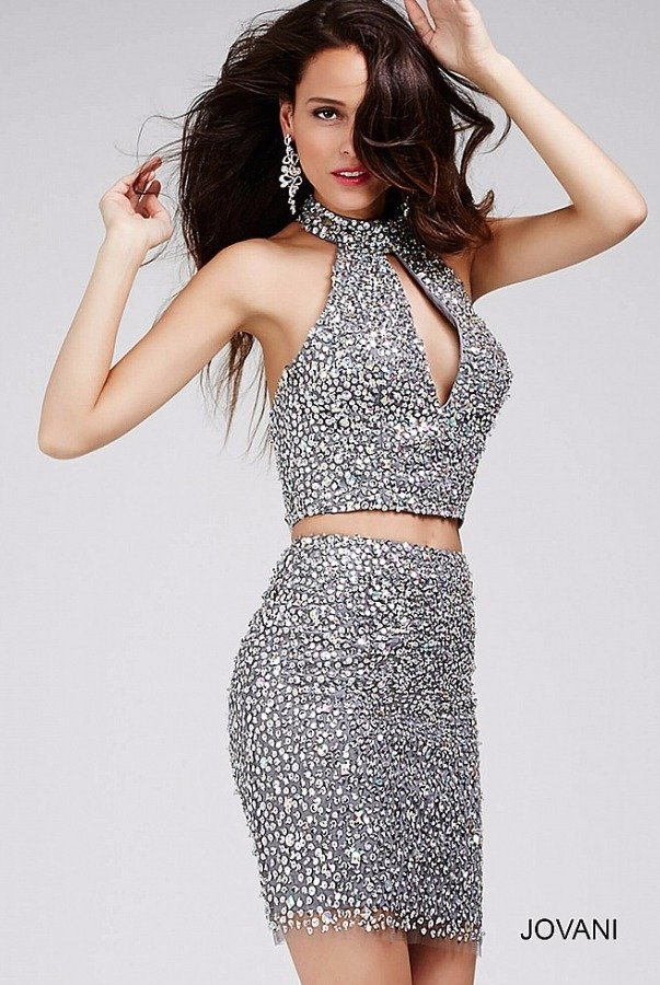 Jovani 27843 Gunmetal Sequin Two piece cocktail dress