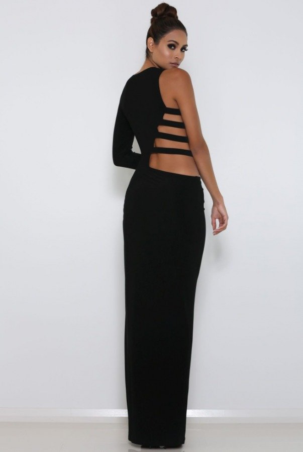 Abyss by Abby Muse Strappy Asymmetrical Gown Black