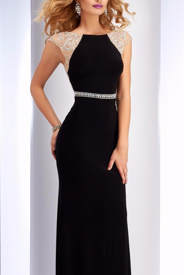 Clarisse 2729 Navy Crystal Cap Sleeve Dress