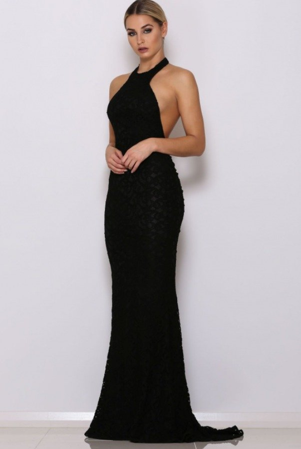 Abyss by Abby Ryan Black Lace Open Back Halter Gown