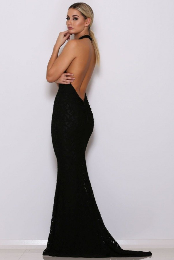 Abyss Ryan Black Lace Open Back Halter Gown
