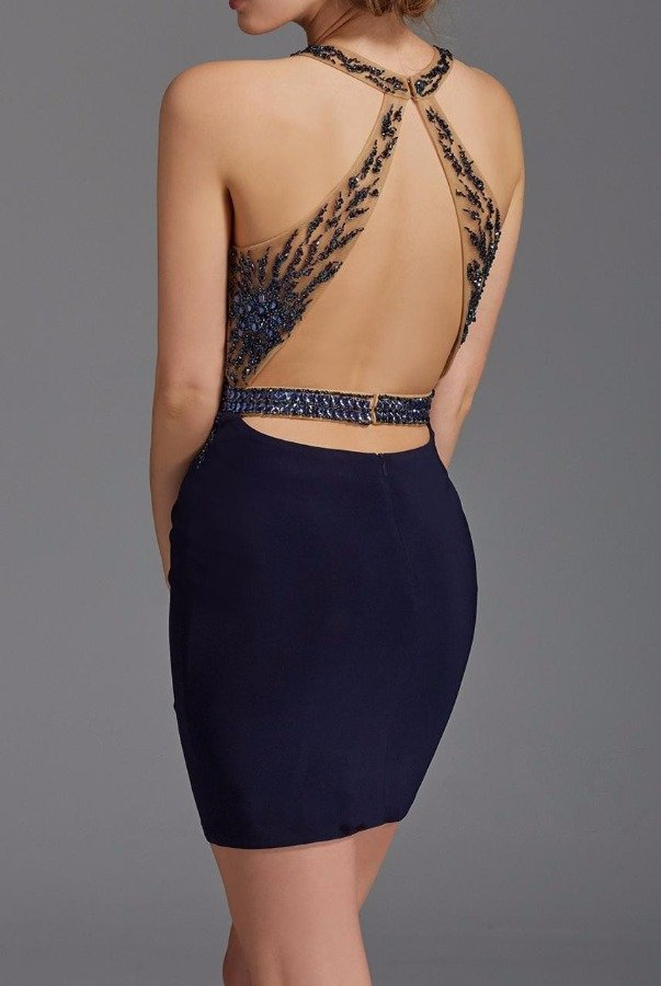 Clarisse 2941 Navy Applique Illusion Cocktail Dress