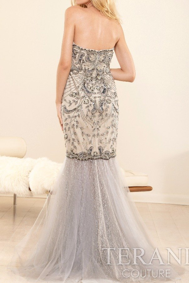 Terani Couture GL3425 Strapless beaded trumpet evening dress gown