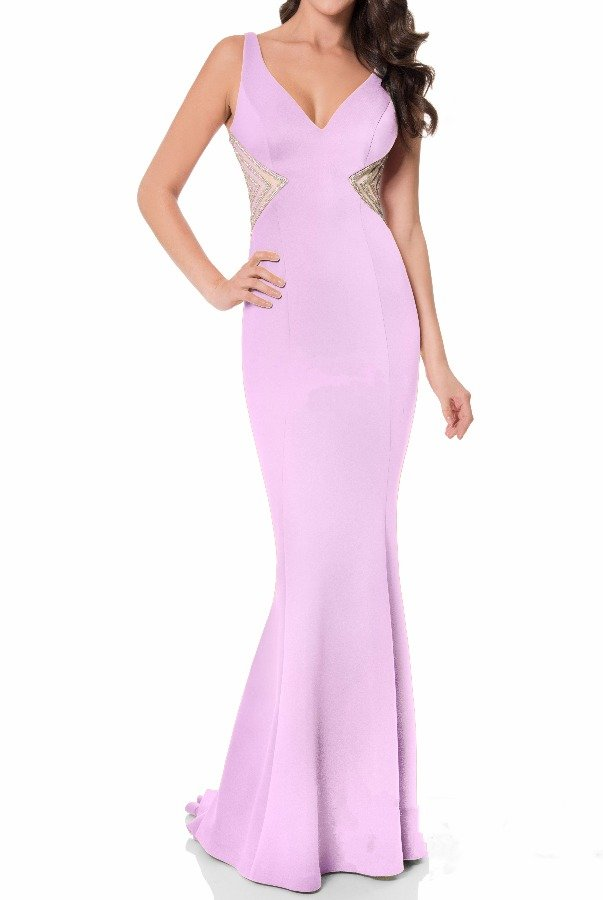 Terani Couture Long Lavender Cutout Gown Lavender Evening Dress