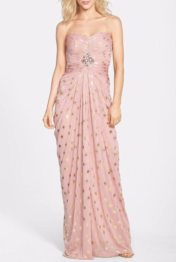 Adrianna Papell Blush Gold Foiled Dot Draped Mesh Gown in Blush