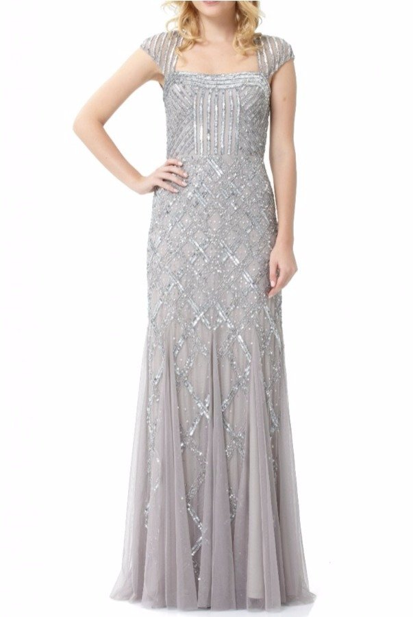 Adrianna Papell Cap Sleeve Silver Beaded Dress Square Neck
