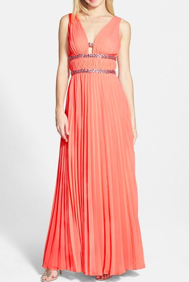 Hailey Logan Embellished Pleated Coral Chiffon Gown Dress