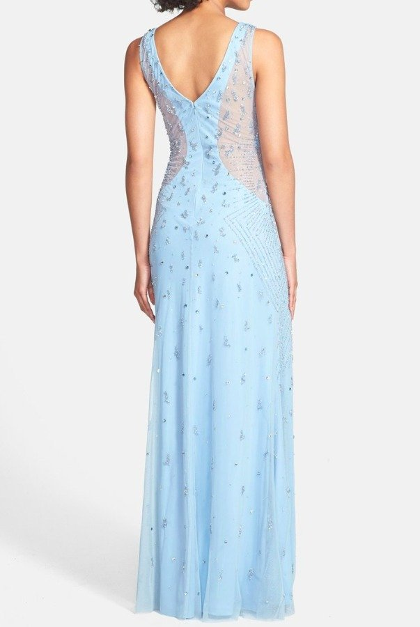 Adrianna Papell Pale Light Blue Beaded V-neck Gown