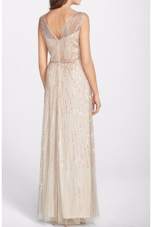 Aidan Mattox Blush Beaded Blouson Gown V Neck Bridesmaid Dress | Poshare