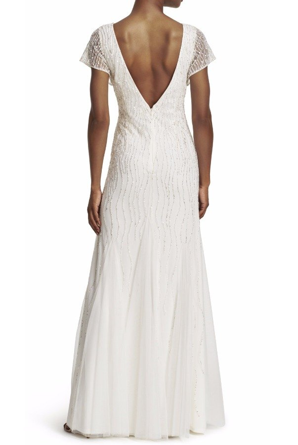 Adrianna Papell Ivory Short Sleeve Fully Beaded Gown Wedding dress