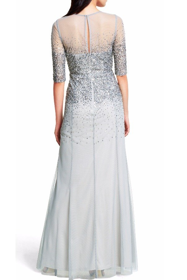 Adrianna Papell Sequin beaded illusion quarter sleeve gown Mist