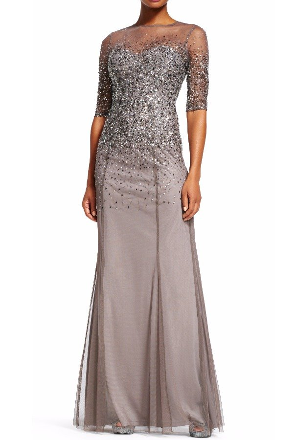 Adrianna Papell Sequin Beaded illusion gown in Lead with Sleeves
