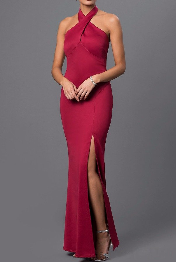 Marina Maroon Halter Gown  with High Slit Burgundy dress