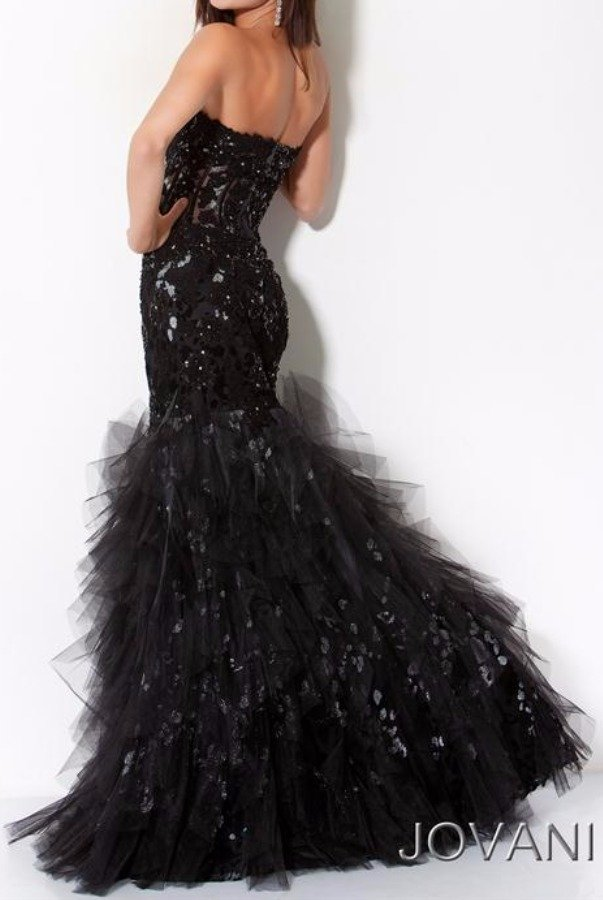 Jovani 172008 Black Mermaid Gown with silver accents