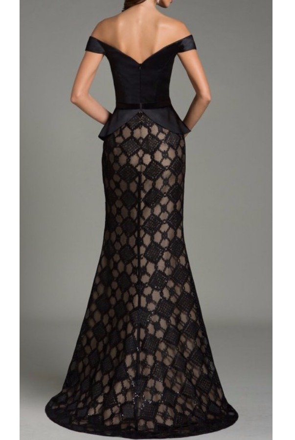 Feriani Couture Elegant Diamond Black Off Shoulder Gown
