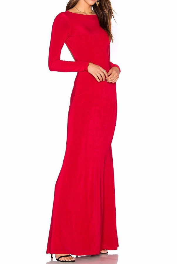 Lurelly Red Monaco Open Back Long Sleeve Gown Dress