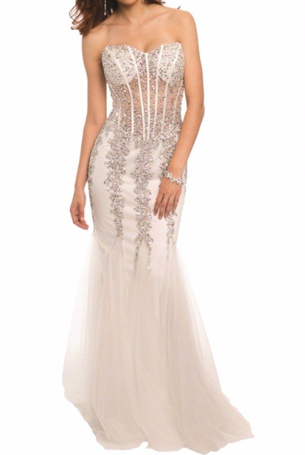 Jovani 5908 Nude Beaded Mermaid Gown Prom Dress | Poshare