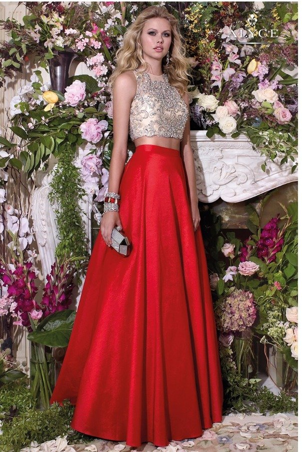 Alyce Paris 46534 Two Piece Ballgown Dress w Red A line Skirt