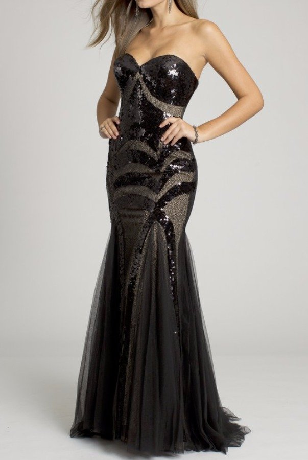 Jovani 153050  Black Sequin Lace Mermaid Gown Prom Dress