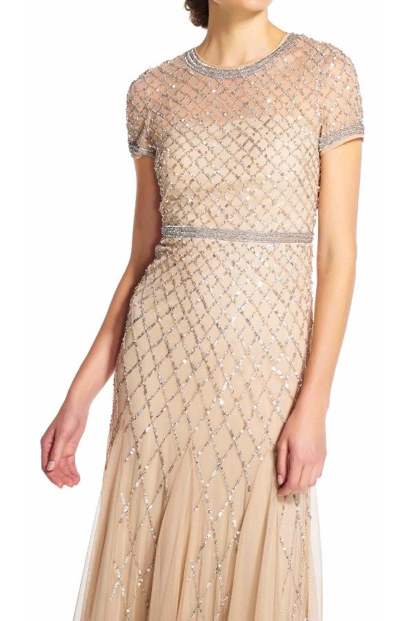 Adrianna Papell Cap Sleeve Beaded Gown Champagne Bridesmaid Dress
