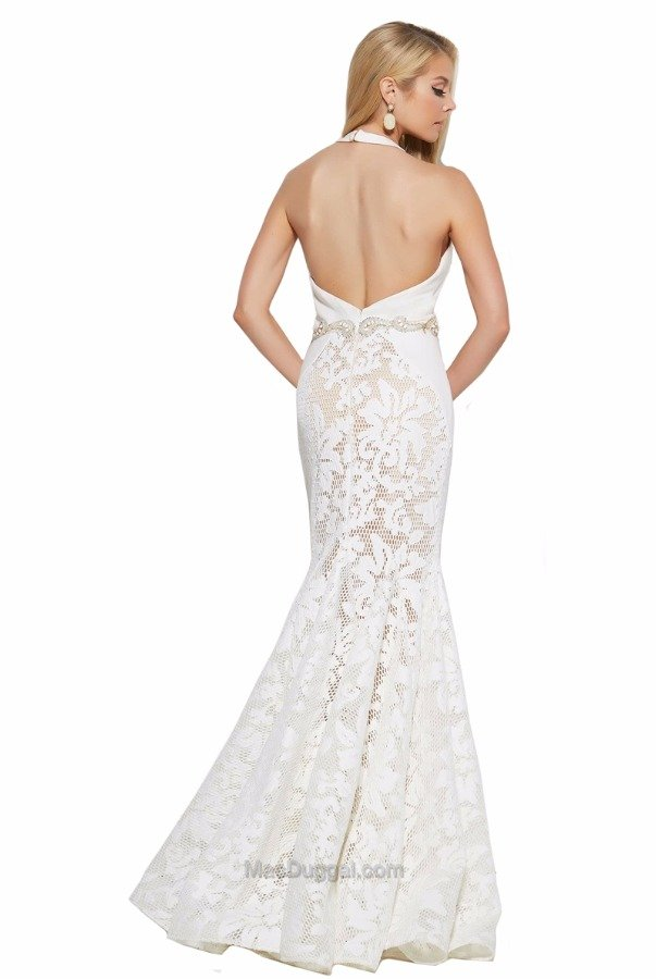 Mac Duggal 65411M Mermaid Lace Deep V Gown in Ivory Nude
