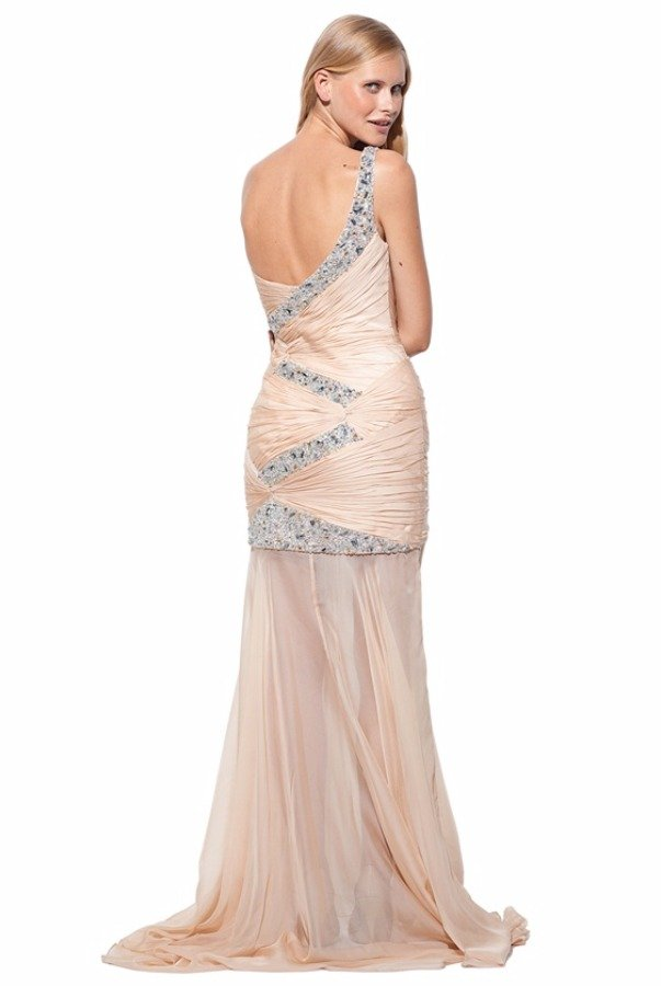 Terani Couture P1538 Nude Chiffon Gown Silver Beaded