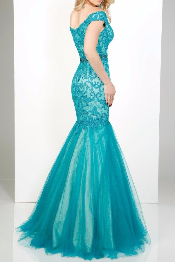 Mon Cheri MCE11644 Off Shoulder Mermaid Lace Teal Gown Dress