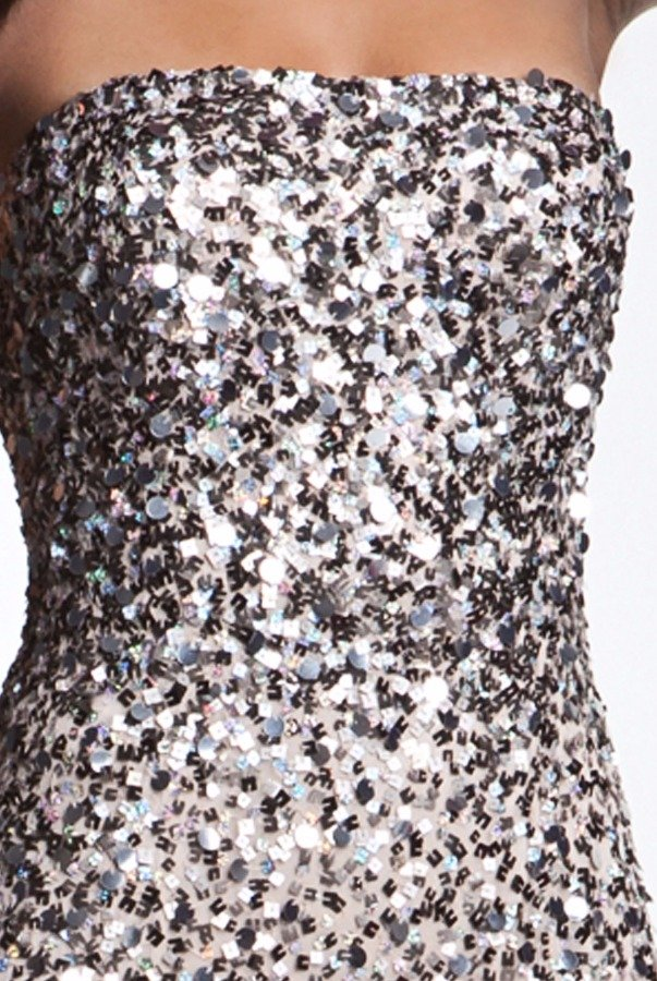 Adrianna Papell Metallic Sequined Strapless Mesh Gown Nude