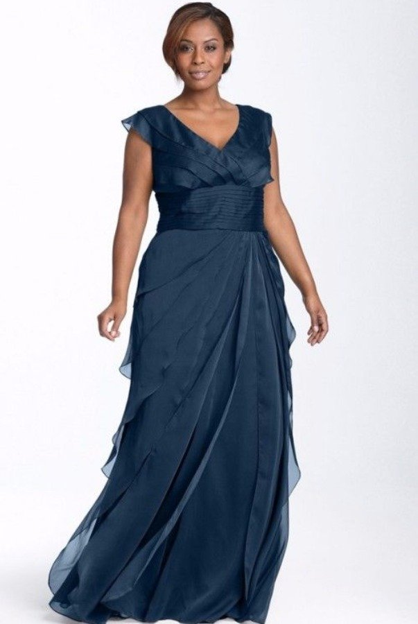 Adrianna Papell Tiered Chiffon Gown in Navy - Bridesmaid Dress