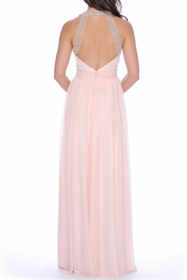 Decode 18 Blush Chiffon Gown with Pearl beaded neckline