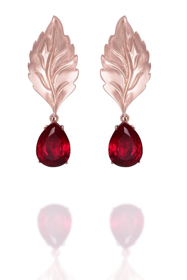 Sandugash Gallo Ada Rose Gold Drop Earrings with Leaf Detail