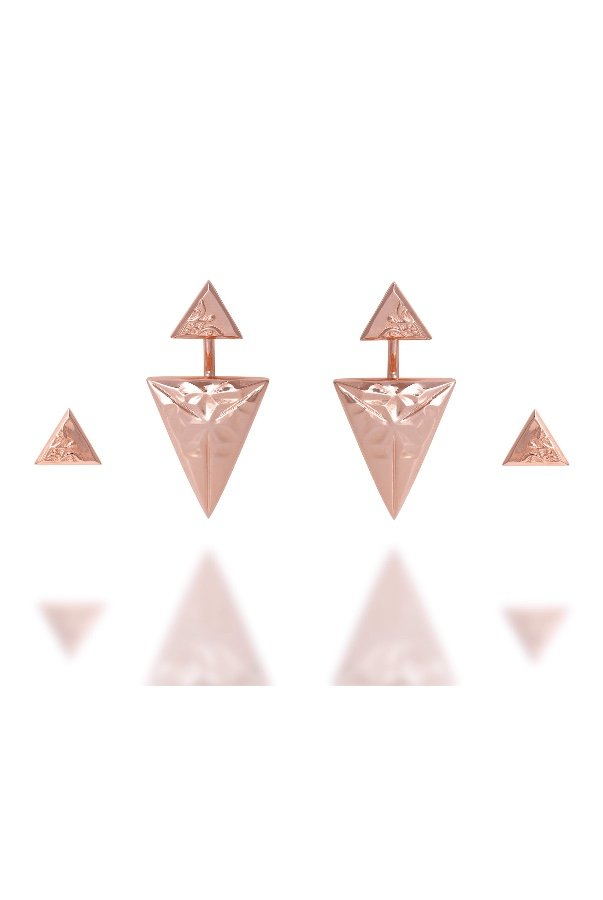 Sandugash Gallo JULIA Rose Gold Two Pairs of Geometrical Earrings