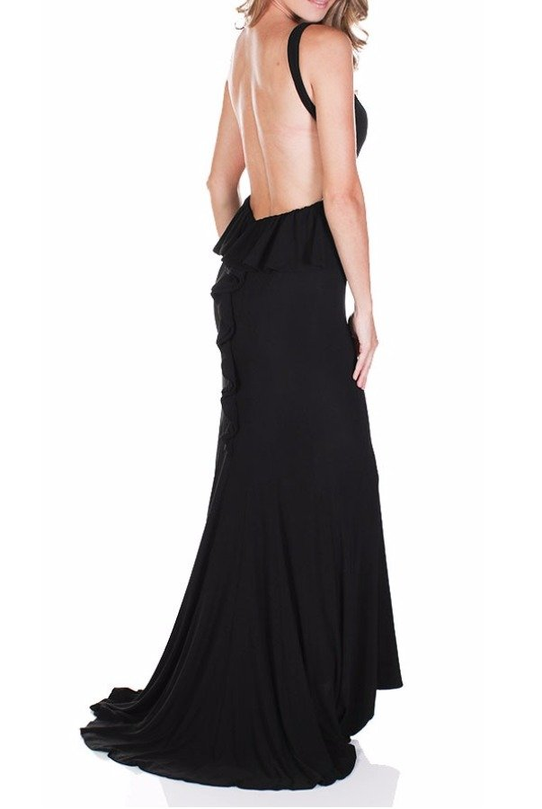 Jasz Couture BLACK Ruffled Open Back Evening Gown Dress 5758 | Poshare
