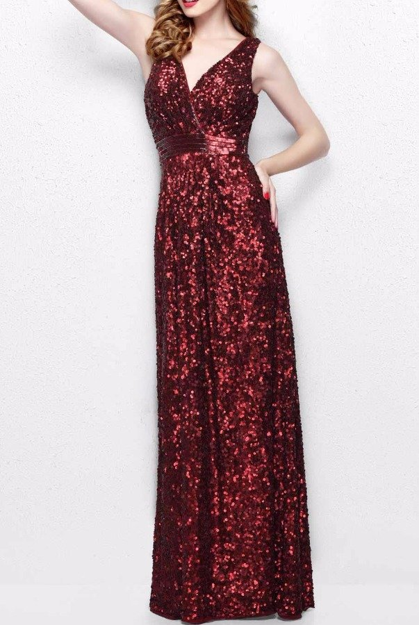 Primavera 1257 Red Burgundy Sequin Bridesmaid Dress Gown
