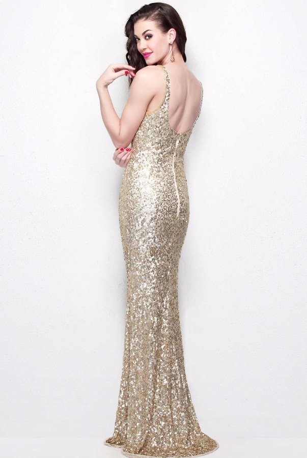 Primavera Couture 1251 Gold Sequin Gown Long Bridesmaid Dress