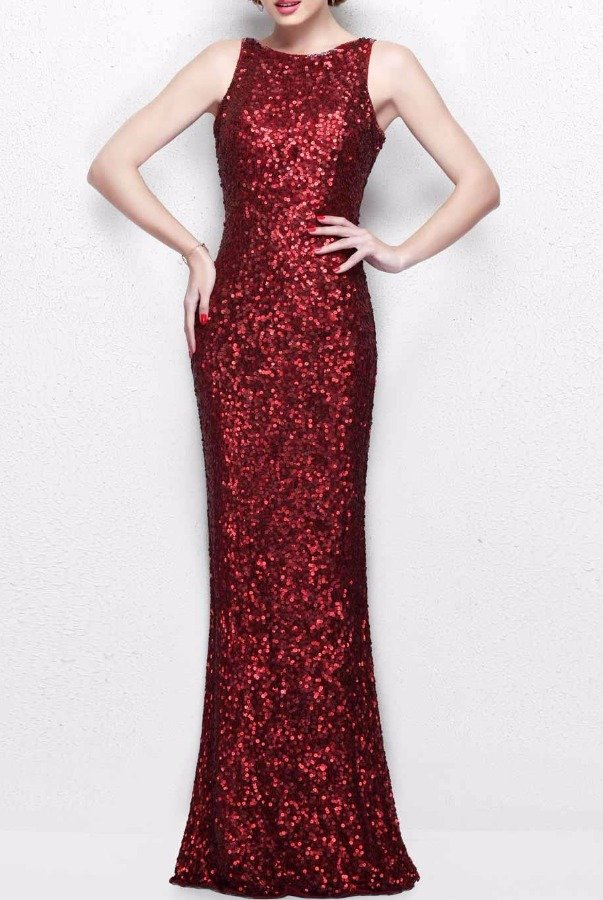 Primavera Burgundy Red Sequin Gown Long Bridesmaid Dress