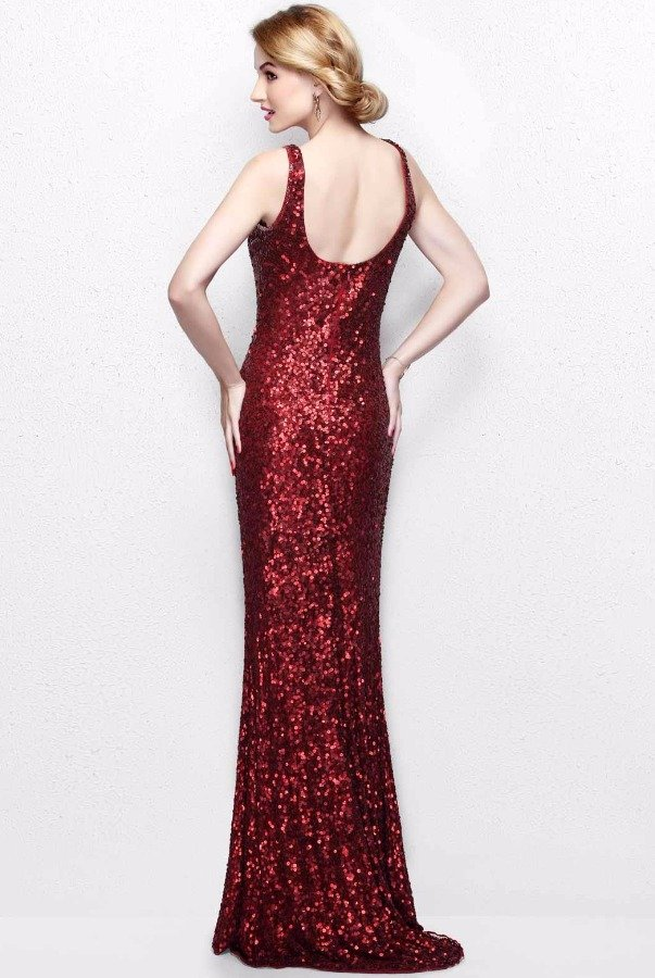 Primavera Couture Burgundy Red Sequin Gown Long Bridesmaid Dress