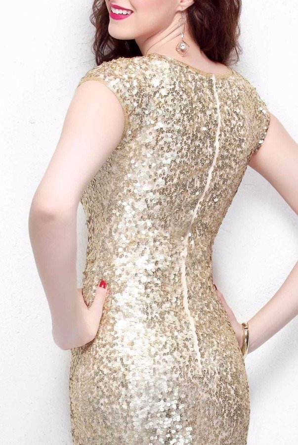 Primavera Couture Gold Sequin Gown Long Bridesmaid Dress