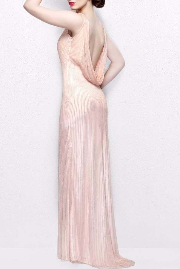 Primavera Couture Rose Gold Beaded Long Bridesmaid Dress