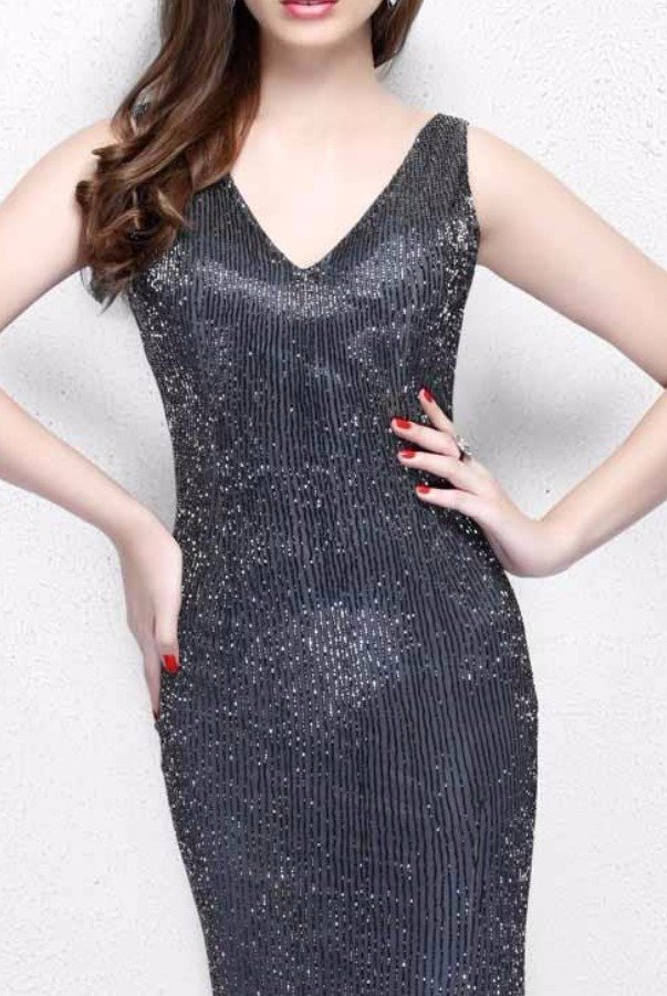 Primavera Couture Charcoal Beaded Gown Bridesmaid Dress Open Back