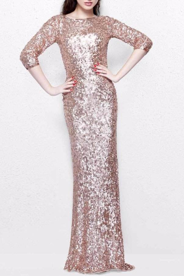Primavera Rose Gold Sequin Sleeve Gown Long Bridesmaid Dress | Poshare