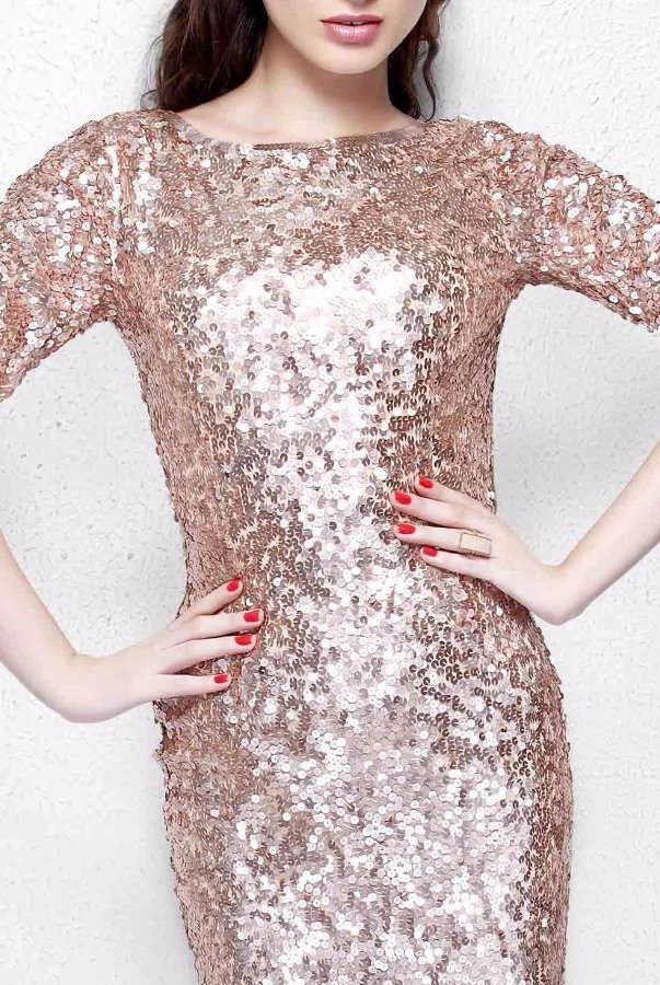 Primavera Rose Gold Sequin Sleeve Gown Long Bridesmaid