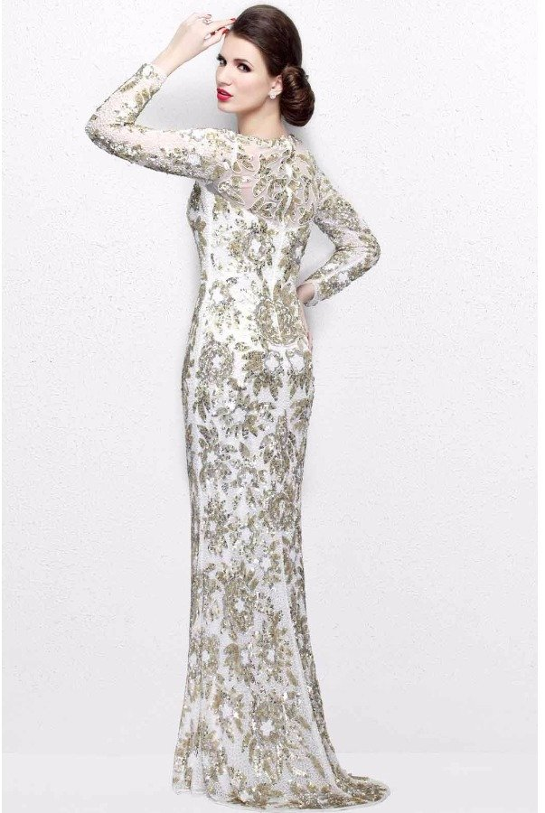 Primavera Couture 1401 Ivory Sequin Floral Long Sleeve Gown Dress