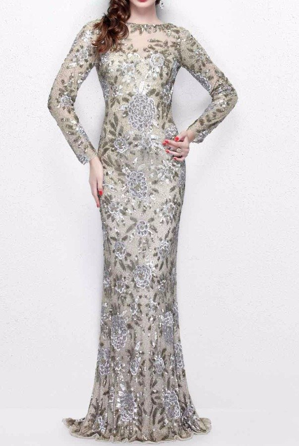 Primavera Couture Champagne Sequin Gown Silver Beaded Long Dress ...
