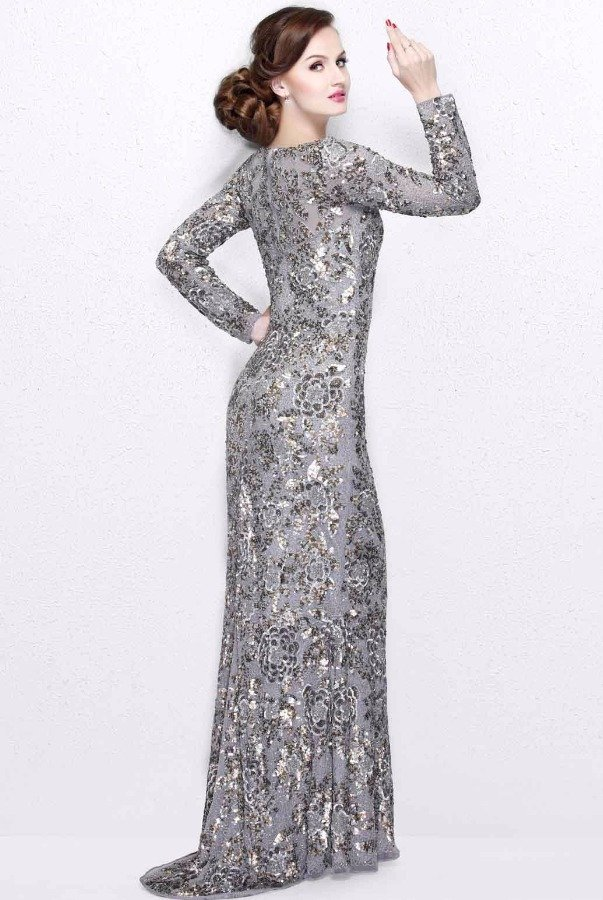 Primavera Couture 1401 Platinum Silver Sequin Long Sleeve Gown dress ...