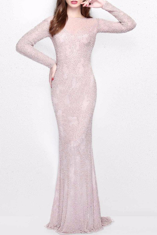 Primavera Couture 1707 Long Sleeved Beaded Champagne Gown Dress