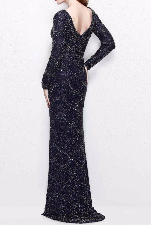 Primavera Couture 1738 Navy Beaded Long Sleeve Evening Gown Dress