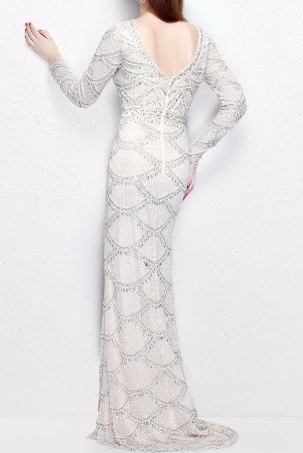 Primavera Couture 1738 Ivory White Beaded Long Sleeve Gown Dress