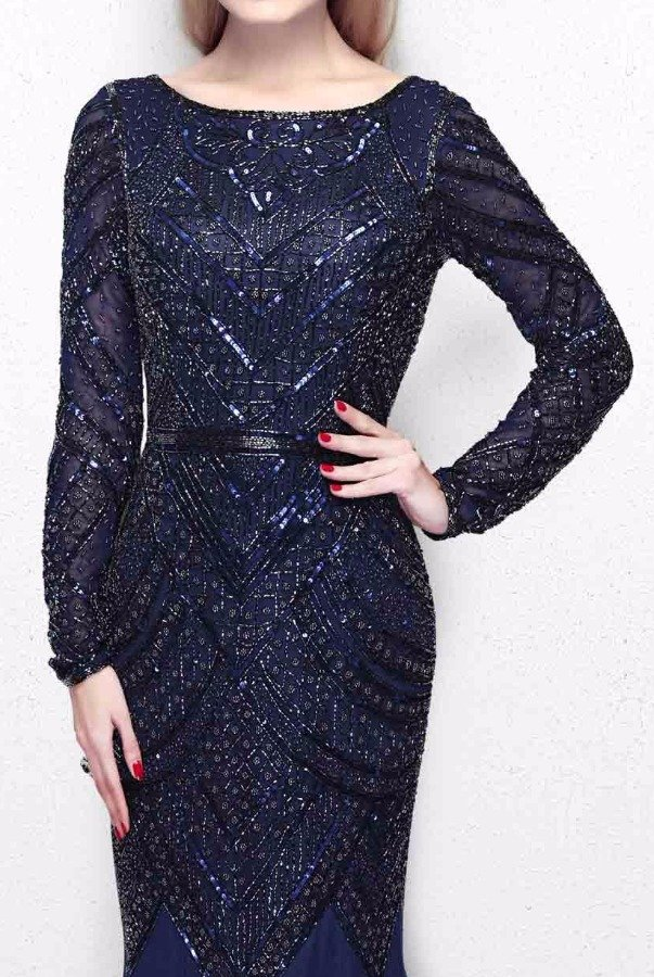Primavera Couture 1725 Navy Blue Beaded Long Sleeve Gown Dress
