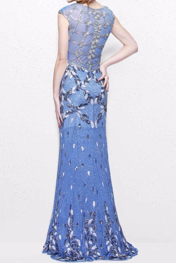 Primavera Couture 1812 Beaded Blue Periwinkle Sleeveless Gown Dress